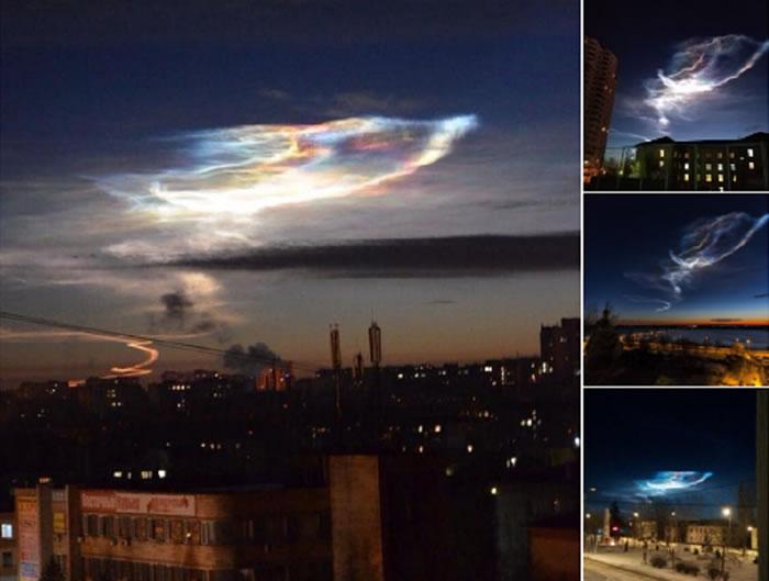 乌克兰卢甘斯克州上空出现不同寻常的发光云彩