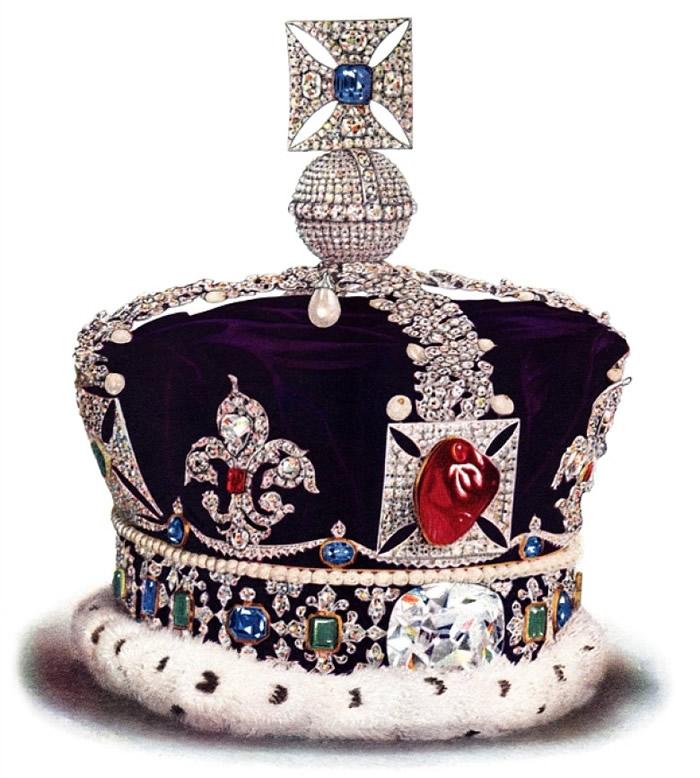 皇冠前方的黑王子红宝石也曾被收藏到饼干罐。