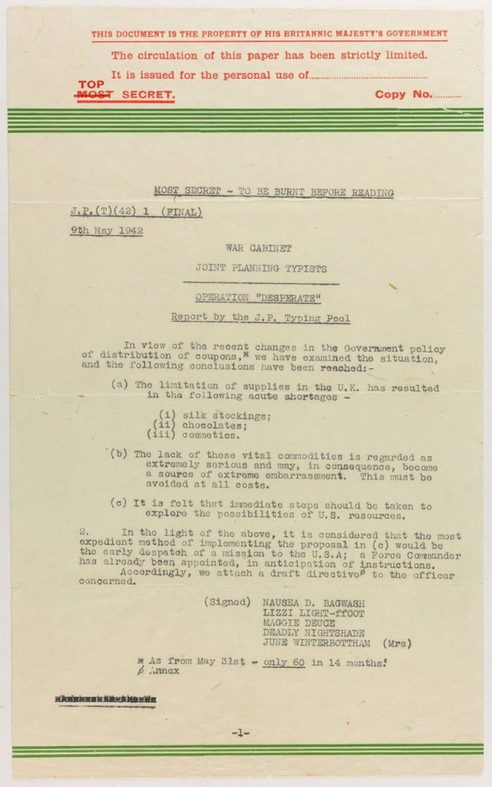 邱吉尔秘书发出的备忘录。
