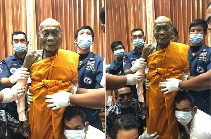 泰国华富里府92岁高僧龙婆偏圆寂2个月尸体未腐烂 脸露浅笑