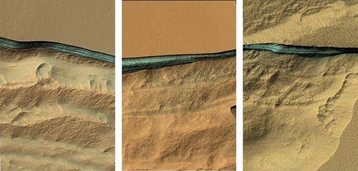科学家发现许多位于火星中纬度地区的侵蚀斜坡,在地表下方一到两公尺深处有蓝色的物质层存在,光谱探测的结果显示这些物质极有可能由水冰构成。 PHOTOGRAPH B