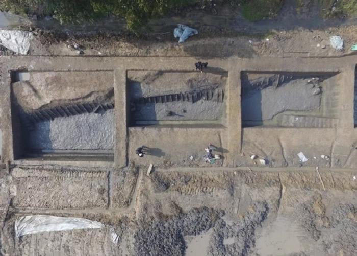 古城钟家港河道(GH02)南段考古发掘情况。