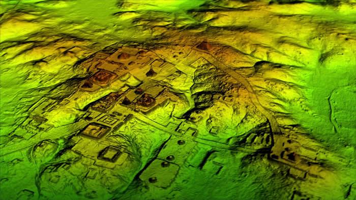 称为「光达」(LiDAR)的雷射科技能以数位方式移除森林树冠层,暴露出底下的古老遗迹,显示提卡尔等马雅城市比以地面为基础的研究所预估的更大。 COURTESY