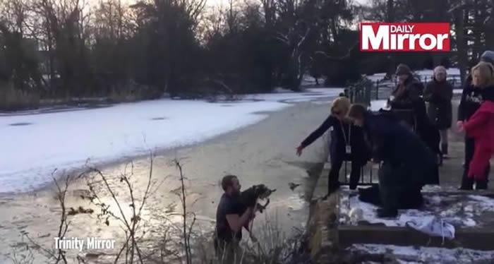 英国赫特福德郡热血男子无惧寒冬跳入冰湖救狗