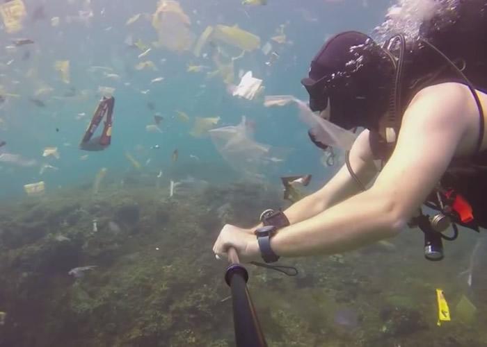 英国游客到印尼巴厘岛潜水拍到恐怖景象:海底成为塑料垃圾地狱
