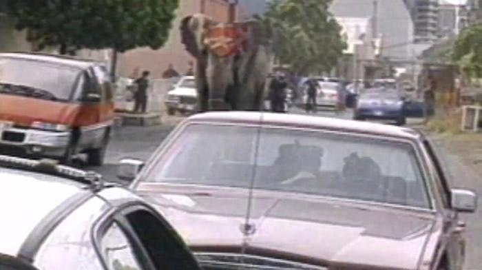 泰克在市区狂奔,吓得用路人弃车逃跑。