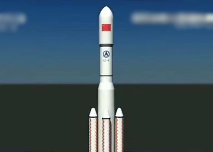 图为中国的重型运载火箭模拟图。