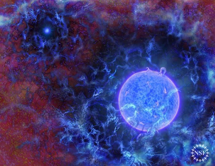 这张艺术家想像图描绘出宇宙最早恒星的可能样貌。 ILLUSTRATION BY N.R.FULLER, NATIONAL SCIENCE FOUNDATION
