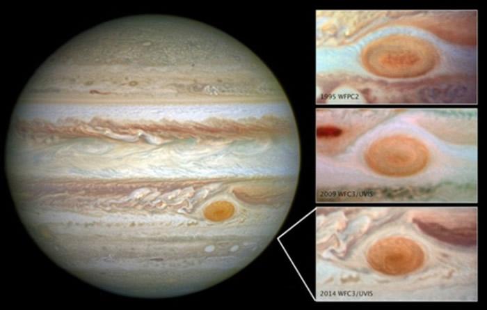 NASA图片显示大红斑正逐渐缩小。