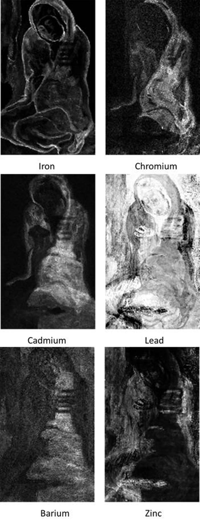 〈蹲坐的行乞者〉各颜料层的化学影像显示出妇人手部姿势涂改了许多次。 PHOTOGRAPH COURTESY NORTHWESTERN UNIVERSITY, A