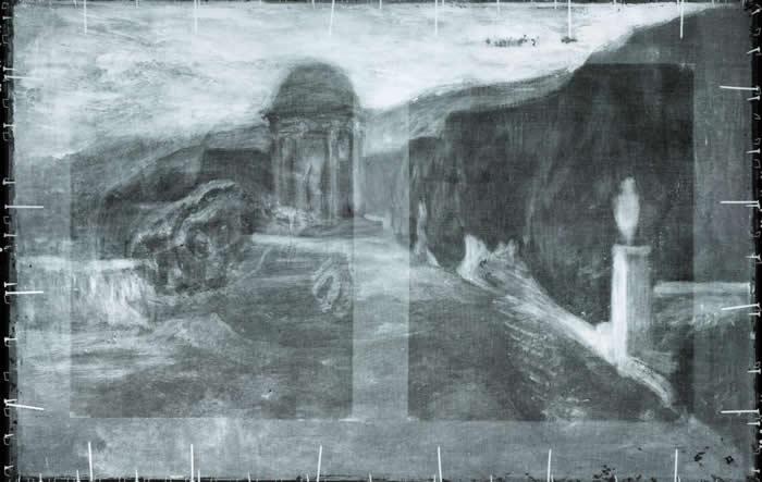 扫描〈蹲坐的行乞者〉后显露出底下的风景画。 PHOTOGRAPH COURTESY ART GALLERY OF ONTARIO (AGO)