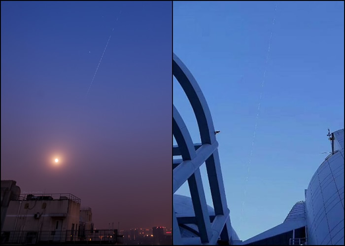 有不少天文发烧友表示,拍摄到天宫一号的轨迹。