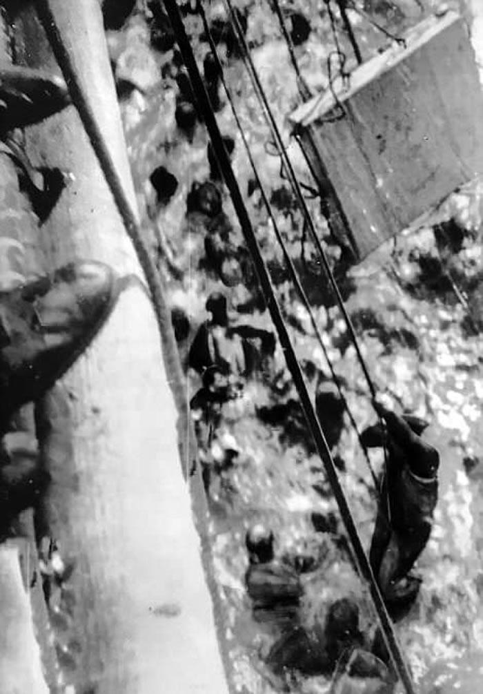 多塞特郡号船员放下绳索,让俾斯麦号船员爬上甲板。
