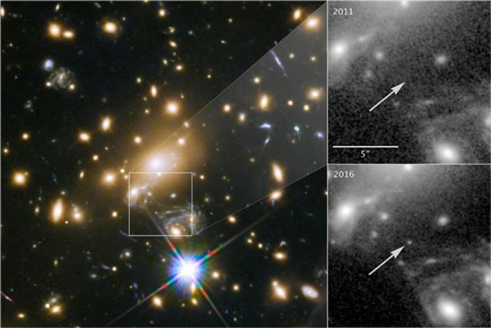 星体透过引力透镜效应现象放大。