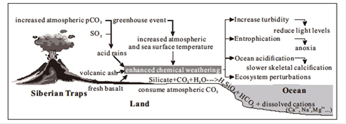 大陆风化作用变化与海洋环境变化关联卡通图解