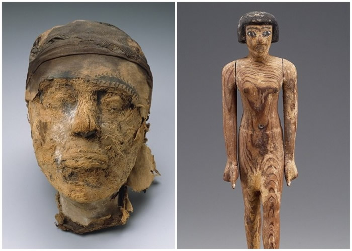 木乃伊头骨证实属于杰胡特纳克特本人;右图为其雕像。