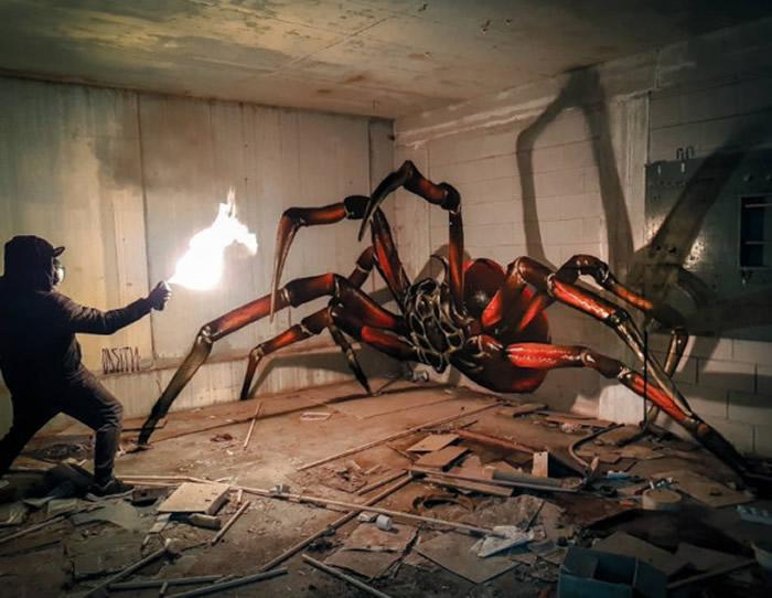 葡萄牙涂鸦艺术家Sergio Odeith推出惊人作品:废墟墙壁画出高3.5公尺大蜘蛛