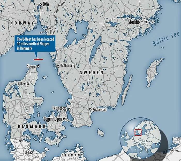 第三帝国将领乘坐逃跑的德国U-3523潜艇在斯卡格拉克海峡海底被发现