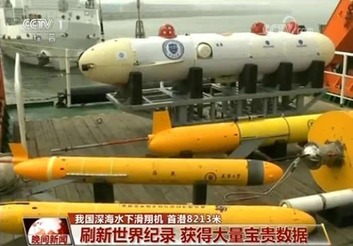 中国深海水下滑翔机在马里亚纳海沟下潜至8213米 刷新世界纪录