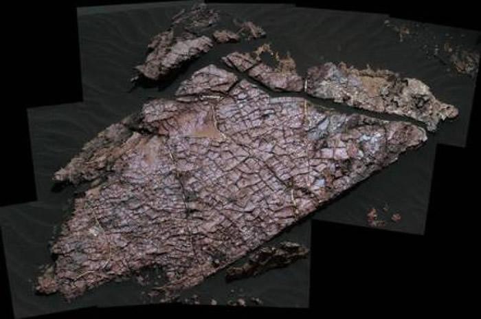 石头裂纹是火星古湖泊于35亿年前干涸后所造成。