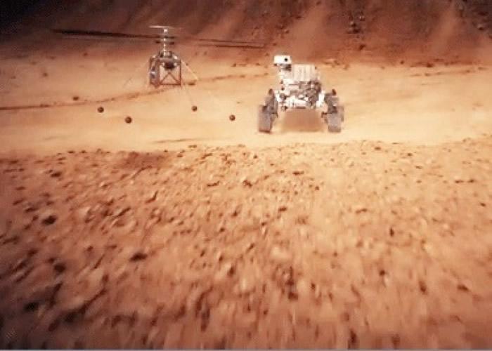 """直升机届时将附在""""火星2020号""""探测车上结伴升空。"""