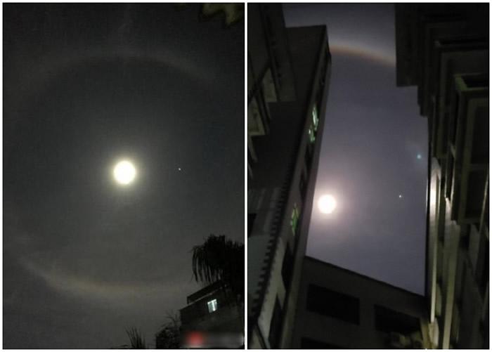 """深圳市民拍下的""""彩虹月""""奇观。"""