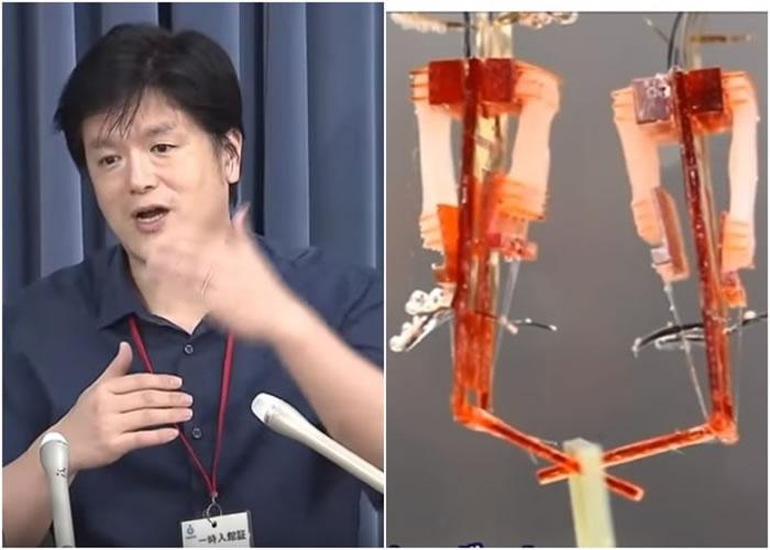 竹内昌治(左图)研发出可灵活活动的机器人。