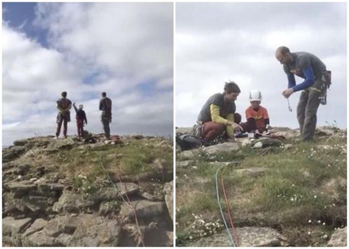 米尔斯在教练带领下,上周五下午爬上老人石礁顶。