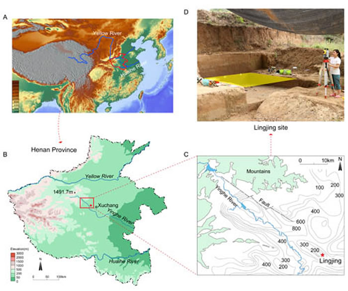 遗址地理位置、地貌环境及2017年度发掘场景(李浩供图)