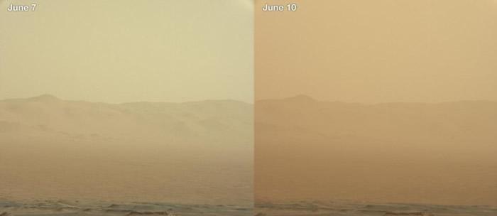 沙尘暴令火星沙尘滚滚。