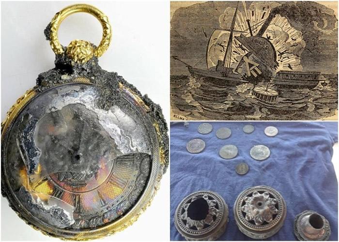 金表(左)记录了意外发生的时间,专家还寻获了其他宝物。