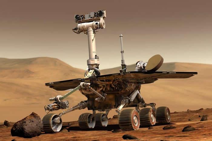 2004年1月,双胞胎探测车「精神号」与「机会号」分别登陆于火星两侧并展开探索。从那时至今已传回超过十万张红色行星地表的高解析全彩影像。 PHOTOGRAPH