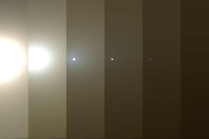 这几张影像是从机会号的角度观看,火星天空因为尘埃遮蔽阳光而变暗的模拟影像。 PHOTOGRAPH BY NASA, JPL-CALTECH, TAMU