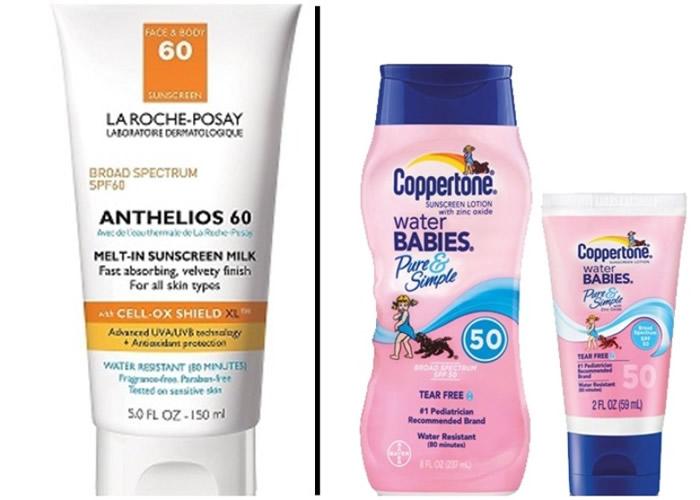 """被禁的""""理肤宝水""""(左图)及""""确不同""""(右)产品在港有售。"""