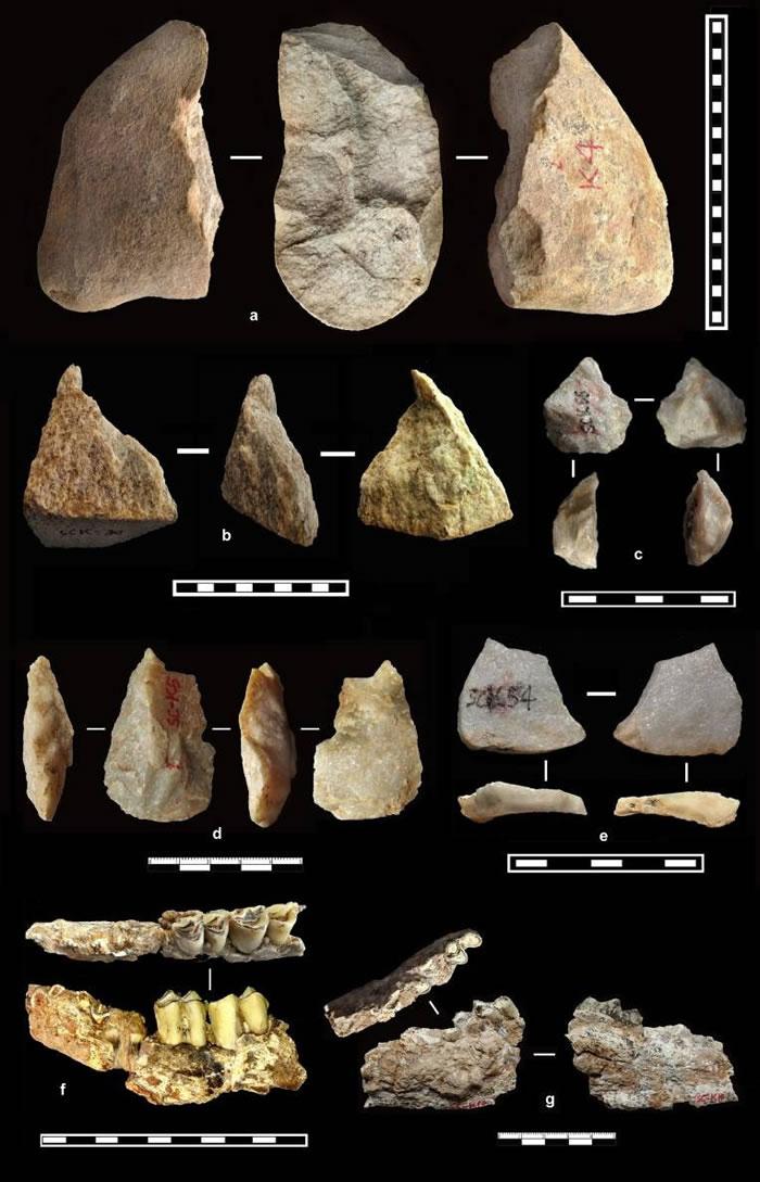蓝田上陈遗址最老石器层位(S27~L28,距今大约2.00~2.12百万年)部分石器与化石