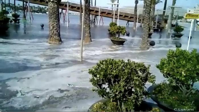 """西班牙梅诺卡岛及马略卡岛海岸被罕见""""气象海啸""""侵袭"""