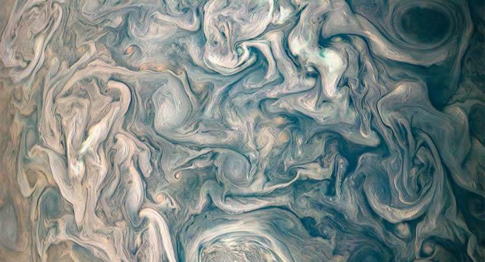 """美国国家航空航天局(NASA)公布木星北温带奇异""""高空云""""照片"""