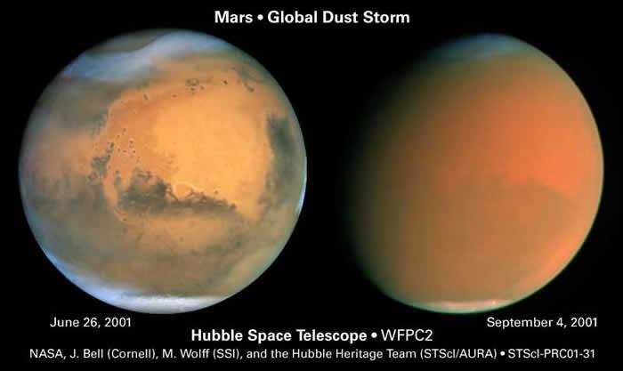 哈伯望远镜在2001年火星冲后,拍摄的火星影像,左图可以清楚看见火星的地表,右图则受到火星全球风暴的影响,蒙上一层红色薄纱。影像来源:NASA