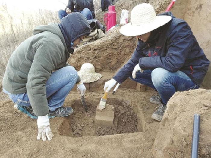 科研人员发现一件石器,正用刷子清洁其表面。该石器埋藏在第28层黄土中,年代为212万年