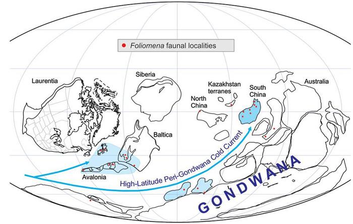 晚奥陶世全球古地理再造与推测的古洋流运移路径