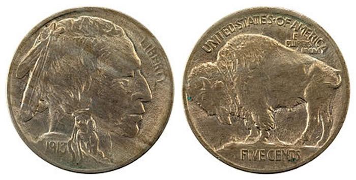 自由女神头像5美仙镍币早已被印第安人头像镍币(图)取代。