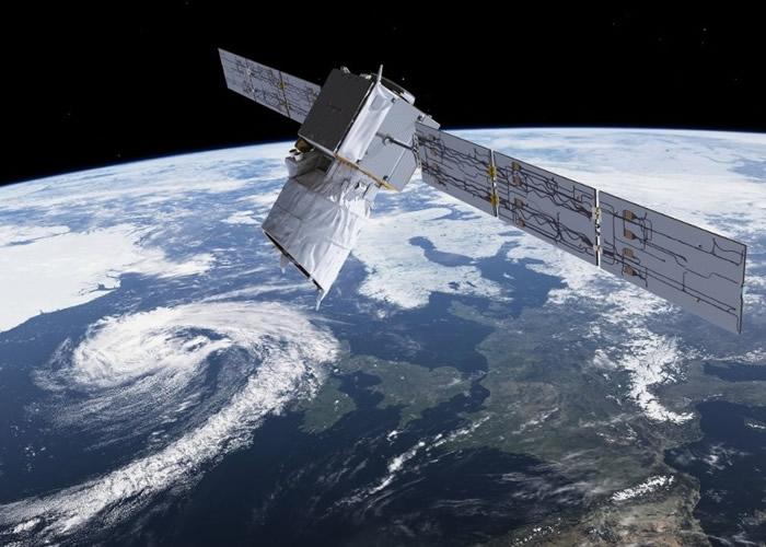 """欧洲太空总署将发射卫星""""风神"""",进行探测地球风力任务;图为构想图。"""