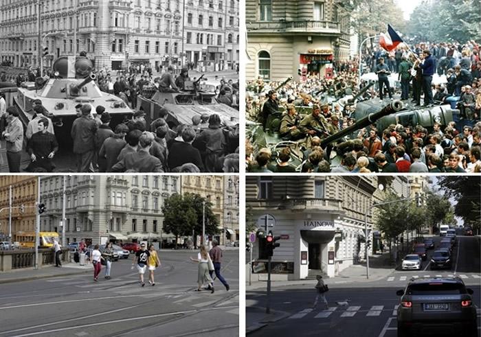 左上图及右上图为当年出兵镇压情况;左下图及右下图则为上址现况。