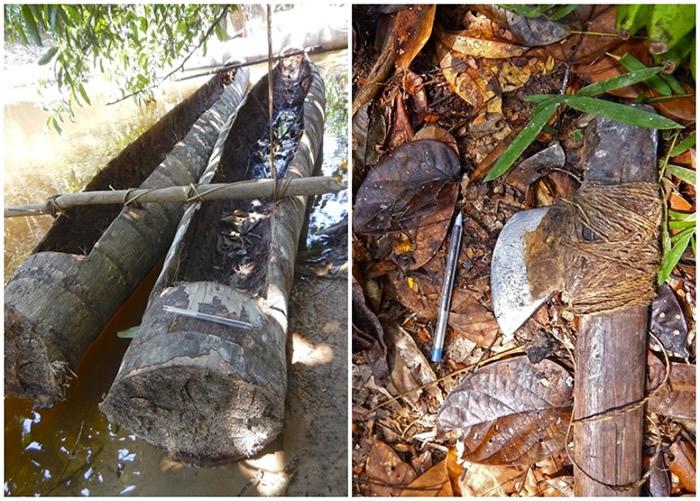 组织在地面考察时,发现土著使用独木舟和刀斧工具。