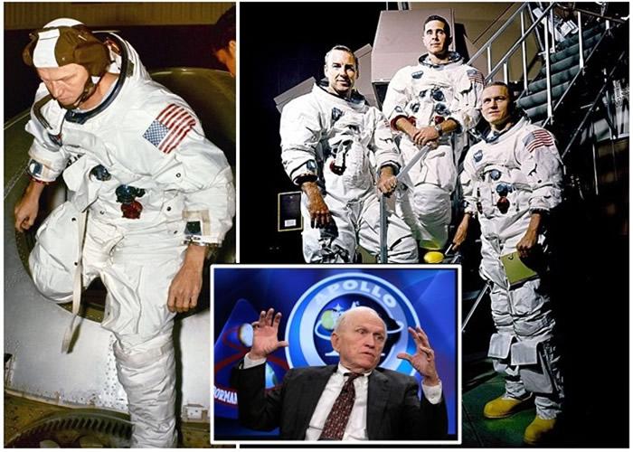 博尔曼(左图、右图右一及小图)形容月球之旅不有趣。