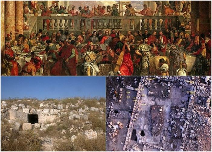 考古学家指洞穴(左下图)可能是耶稣行水变酒神迹之地。