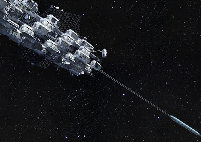 太空升降机的概念早已萌生;图为构想图。