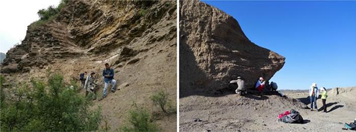 铜川(左图)和克拉玛依(右图)野外地质工作