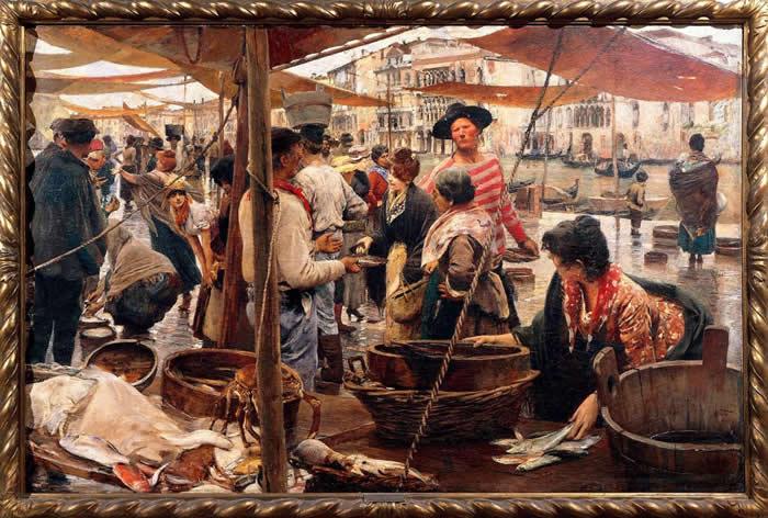 意大利威尼斯的鱼市场,是威勒比的物种灵感泉源。这是提托(Ettore Tito, 1859-1941)于1887年画的《里亚托尔旧鱼市场》(The Old Fi