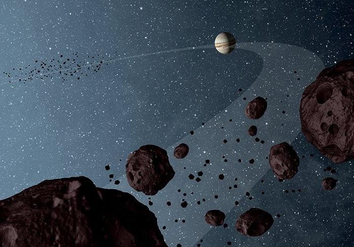 """特洛伊小行星群新研究发现太阳系刚诞生时木星和土星曾""""排挤""""天王星与海王星"""